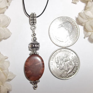 wvluckygirl Jewelry - Brown Jasper Silver Pendant Necklace Set NWT 4780